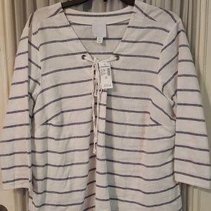 Dressbarn linen white and gray mid quarter sleeve